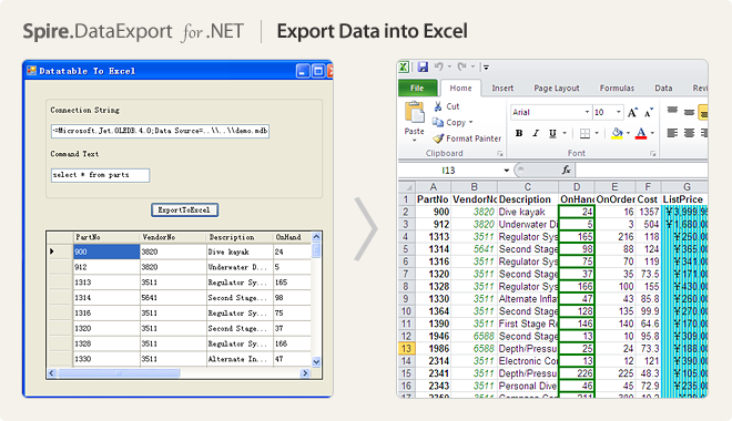 Export Data into Excel