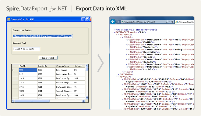 Export Data into XML