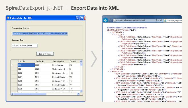 Export Data into XML