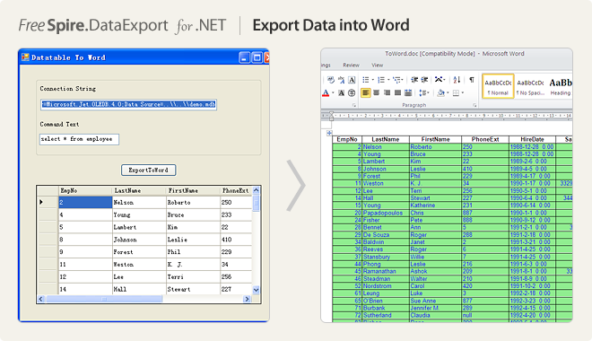 Export Data into Word