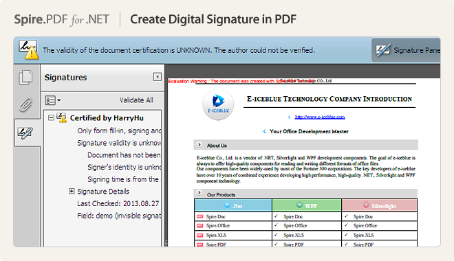 Create Digital Signature in PDF