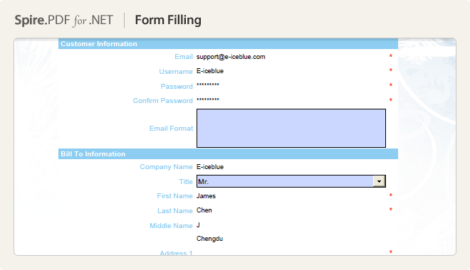 Fill Form Fields in PDF File with C#