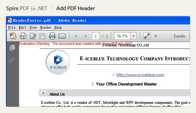 Add PDF Header
