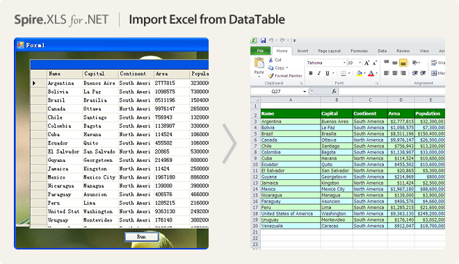 Import Excel from DataTable