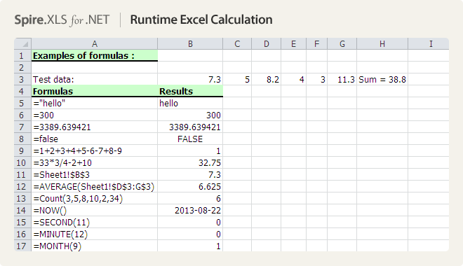 Runtime Excel Calculation