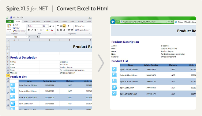 Convert Excel to HTML