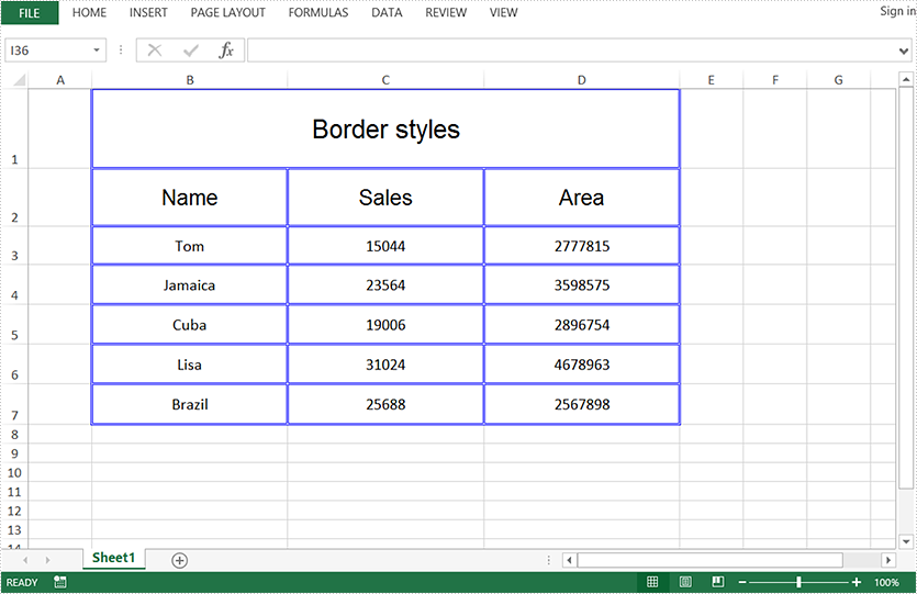 Add Borders to Cells in Excel in Java