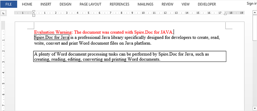 Add Borders to Some Text in Word in Java