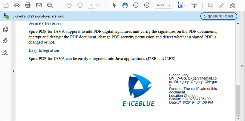 Add Digital Signature to PDF in Java