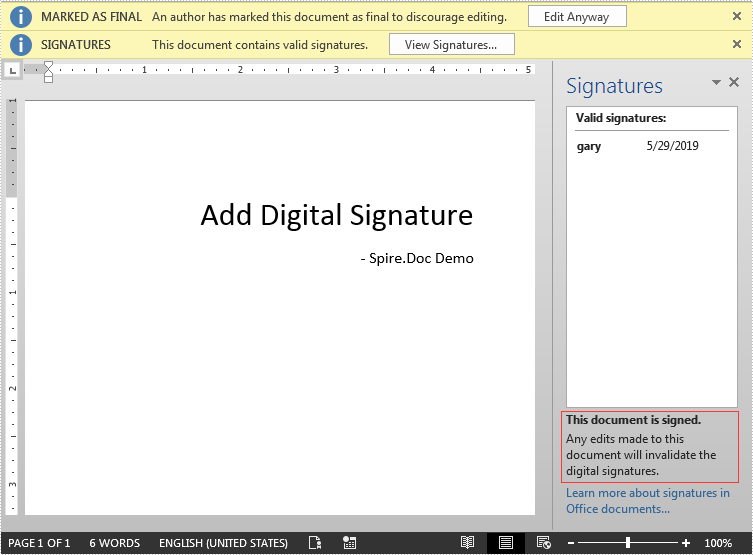 Add Digital Signature to Word in C#
