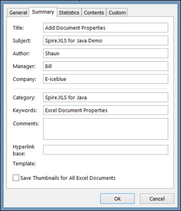 Add Document Properties in Excel in Java