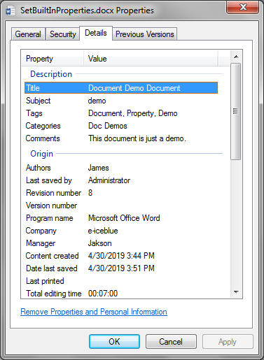 Add Document Properties to Word Document in Java