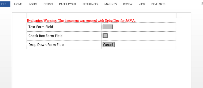 Add Fillable Forms to Word in Java