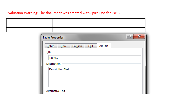 Add/Get Alternative Text of Table in Word in C#