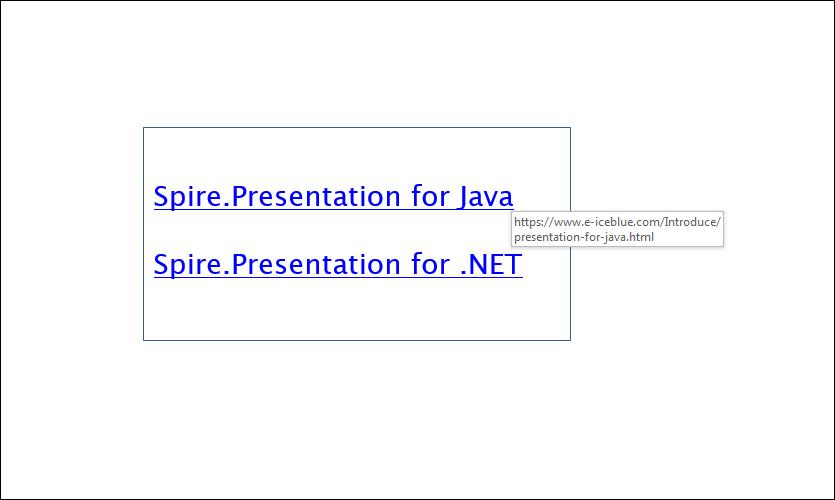 Add Hyperlinks to a PowerPoint slide in Java