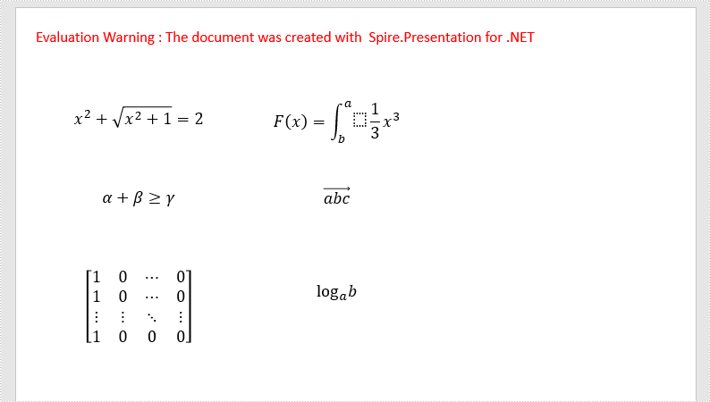 Add Math Equations to PowerPoint using LaTeX Code in C#, VB.NET