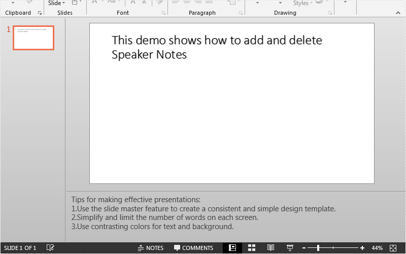 Add, Read and Delete Speaker Notes in PowerPoint in Java