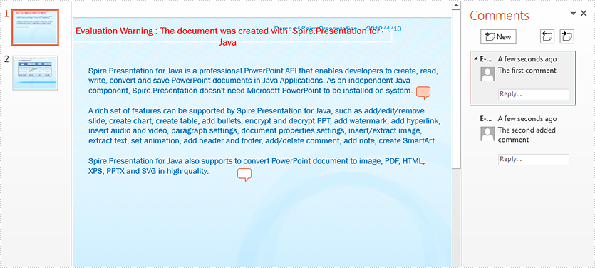 Add, Replace and Delete Comment in PowerPoint in Java