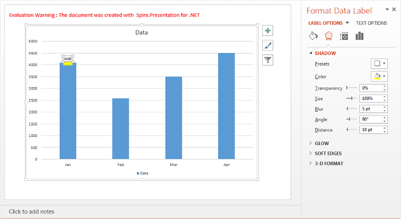 Add Shadow Effect to Chart DataLabels in PowerPoint in C#