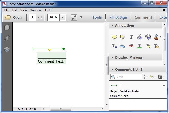 Add a Line Annotation to PDF in C#