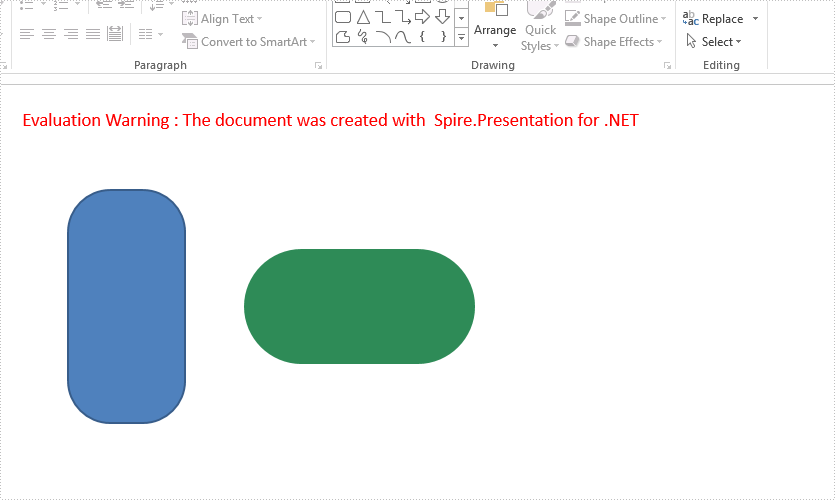 Add a round corner rectangle to presentation slide in C#