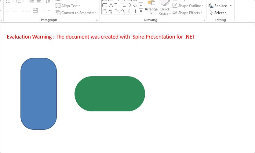 Add a round corner rectangle to presentation slide in C#