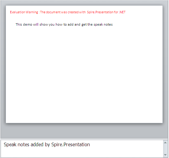 How to add and get speaker notes in presentation slides in C#