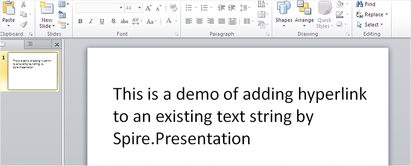 How to add hyperlink to the existing text on presentation slides in C#