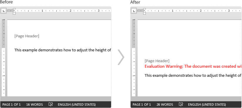 Adjust the Height of Headers and Footers in a Word document in C#