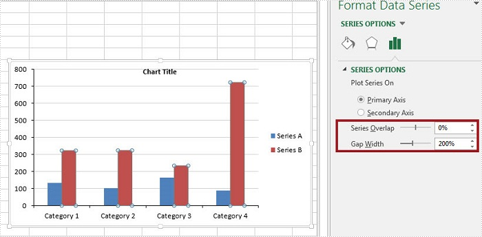 How to Adjust the Spaces between Bars in Excel Chart in C#, VB.NET