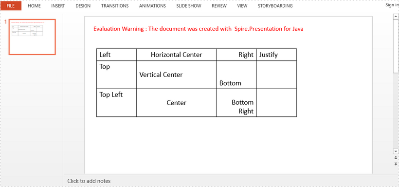 Align Text in PowerPoint Table in Java