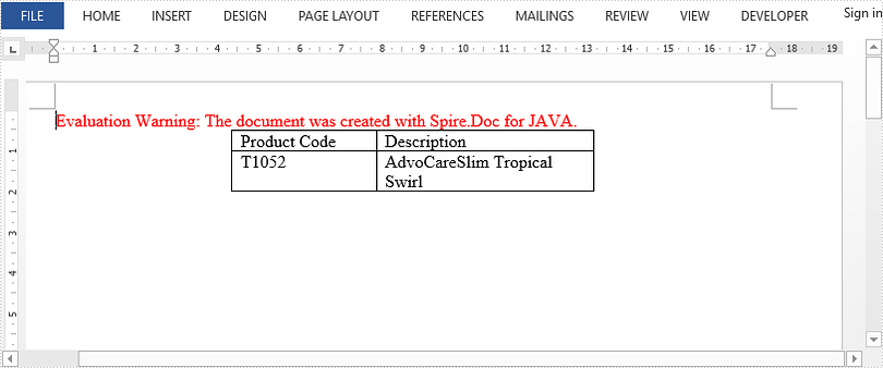 Align a Table Horizontally in Word in Java