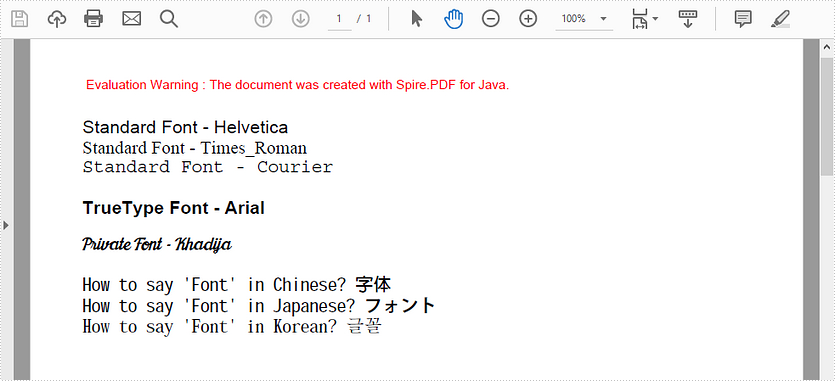 Apply Different Fonts in PDF in Java