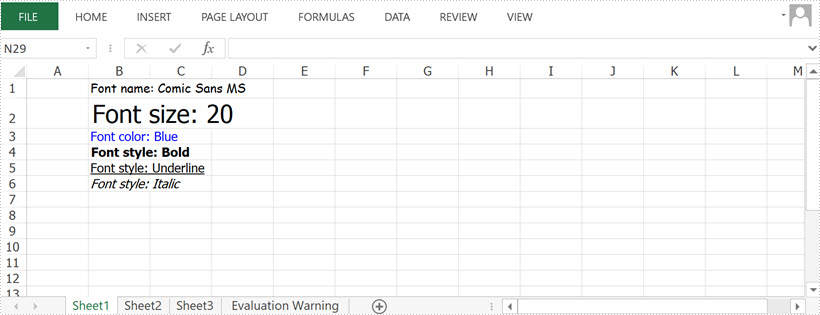 Apply Fonts in Excel in Java