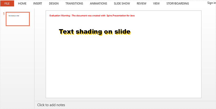Apply a Shadow Effect to Text in PowerPoint in Java