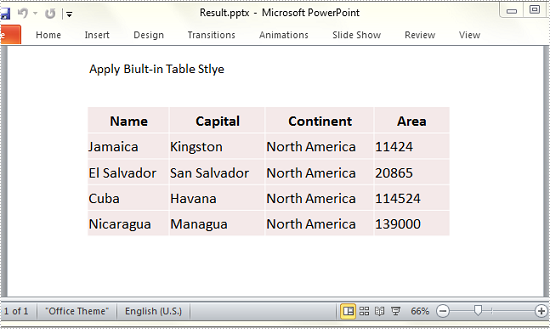 How to Apply Built-in Style to PowerPoint Table in C#, VB.NET
