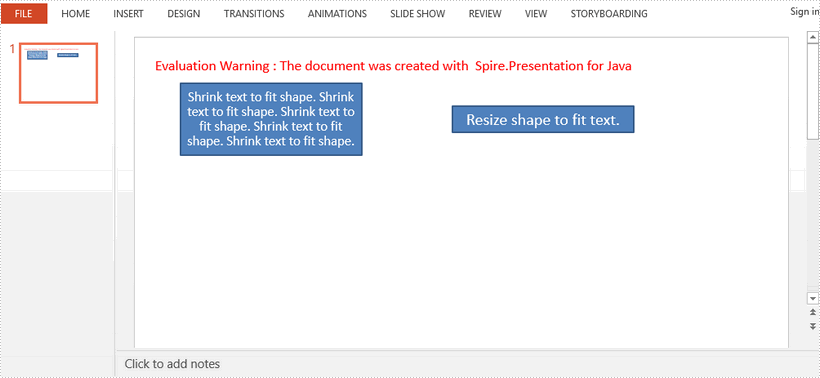 Auto Fit Text or Shape in PowerPoint in Java