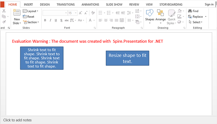 Auto-Fit Text or Shape in PowerPoint in C#, VB.NET