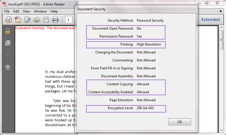 How to Change Security Permission of PDF Document in C#, VB NET