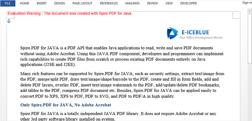 Convert PDF to Word in Java