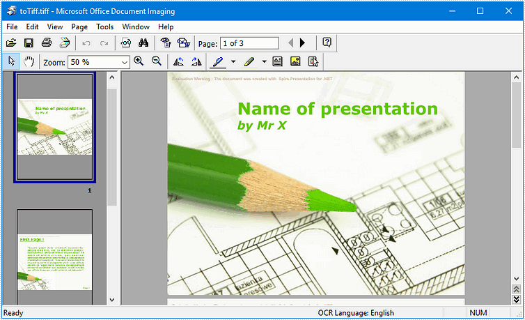 How to Convert PowerPoint Document to TIFF Image in C#, VB.NET