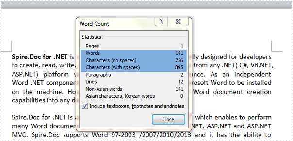 Count the number of words in a document in C#, VB.NET