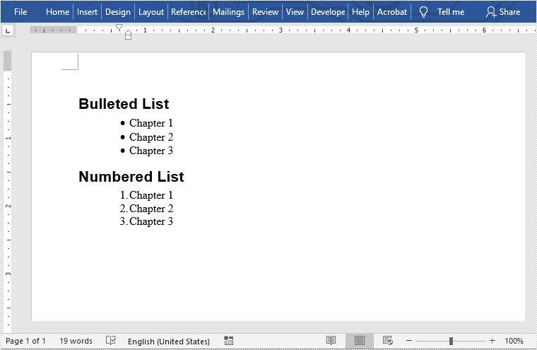 Create Bulleted and Numbered Lists in Word in Java