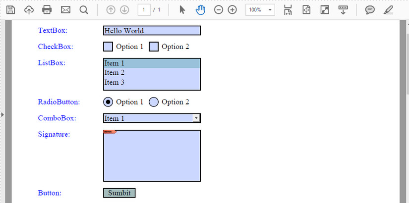 Create Fillable Form Fields in PDF in Java
