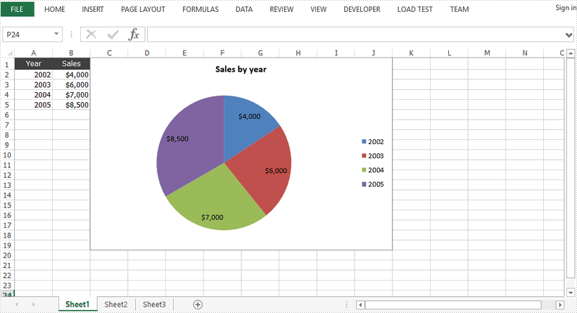 Create Pie Charts in Excel in Java