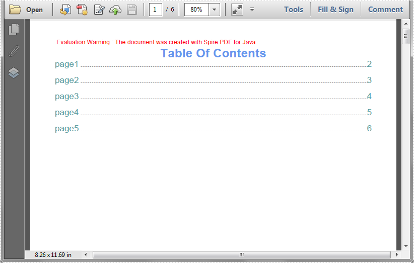 Create Table of Contents (TOC) in PDF in Java