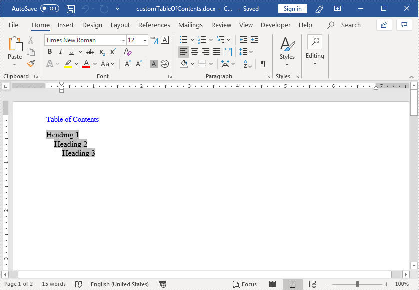 Create Table of Contents in Word in Java