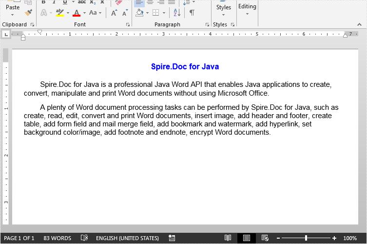 Create Word Document in Java