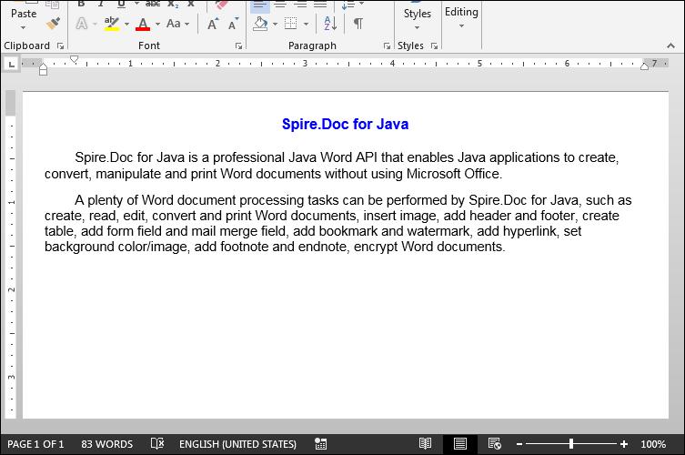 Create Word Document in Java
