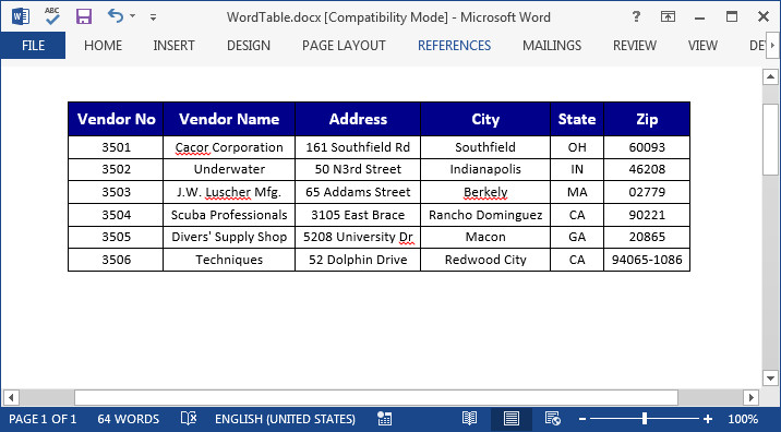 Wpf table for Table design on word